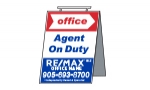 image for Plywood Agent on Duty - RMPAOD 18''w x 24''h Plywood double sided folding sign with hinge handle