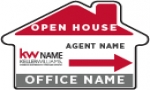 image for OPEN HOUSE DIRECTIONAL HOUSE-SHAPE SIGN DOUBLE SIDED - HOH